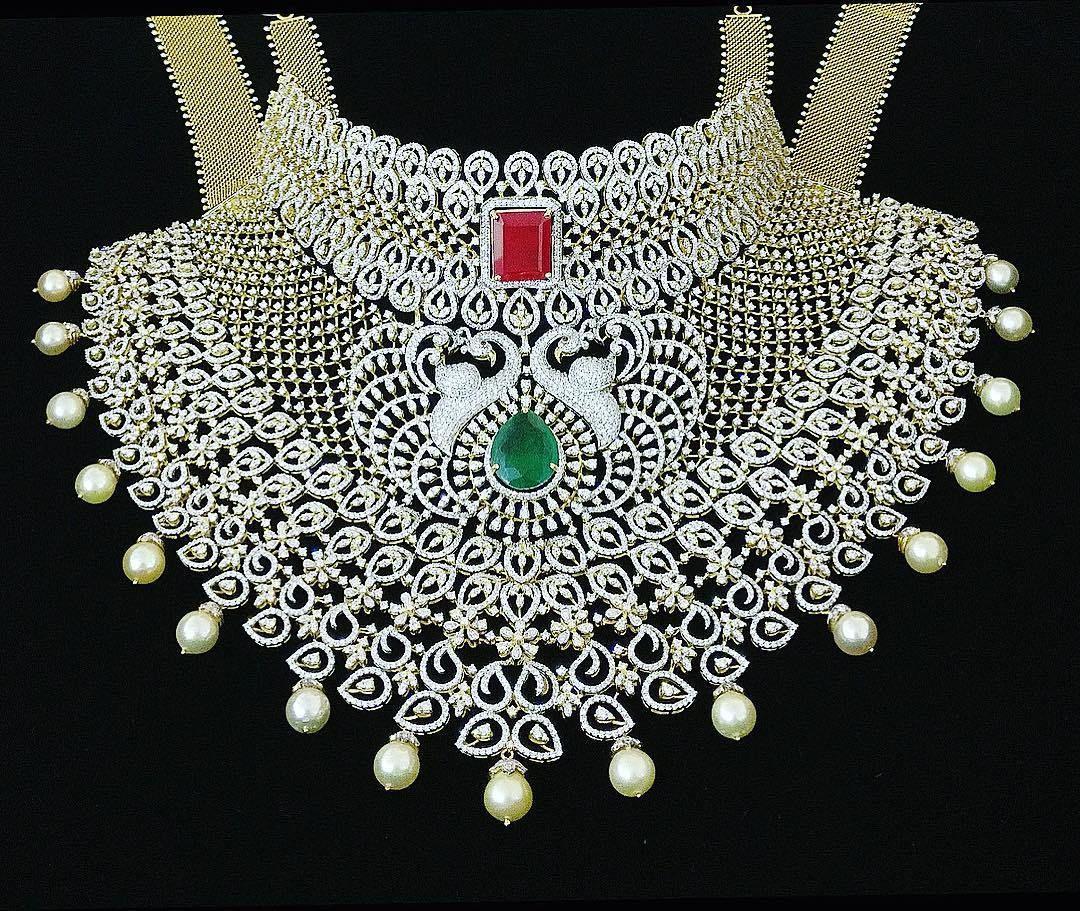 breathtaking heavy diamond necklace set designs wedding