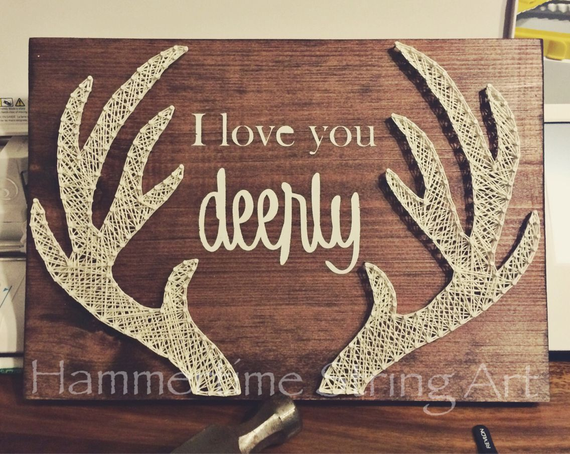 I love you Deerly Antlers String Art decor | String art ...