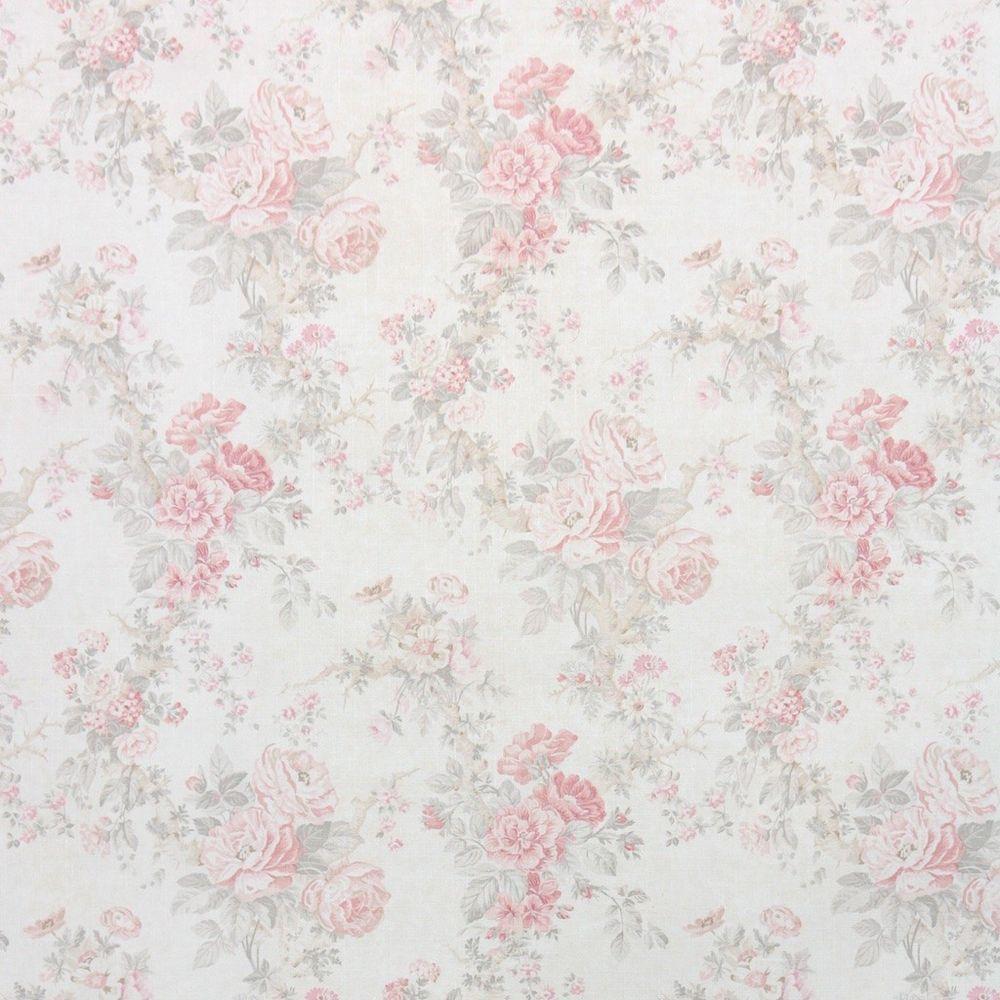 1980s Floral Damask Vintage Wallpaper Pink And Gray Roses On Cream Pink Bedroom Decor Pink Nursery Wallpaper Floral Damask