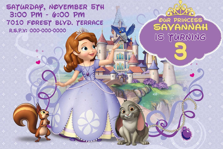 Princess Sofia Invitation | Princess sofia, Princess birthday and ...