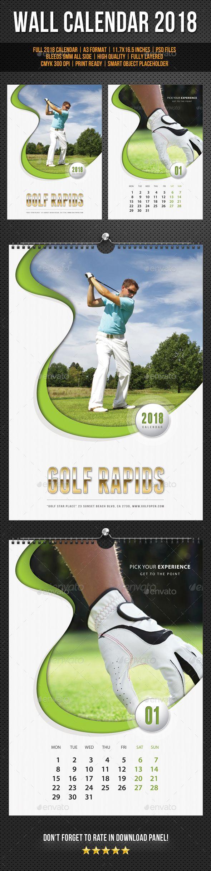 Golf Play Wall Calendar A3 2018 V02