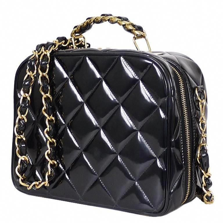 4710b2b8c5b6 Chanel Black Patent 2way Lunch Box Crossbody Bag Rare