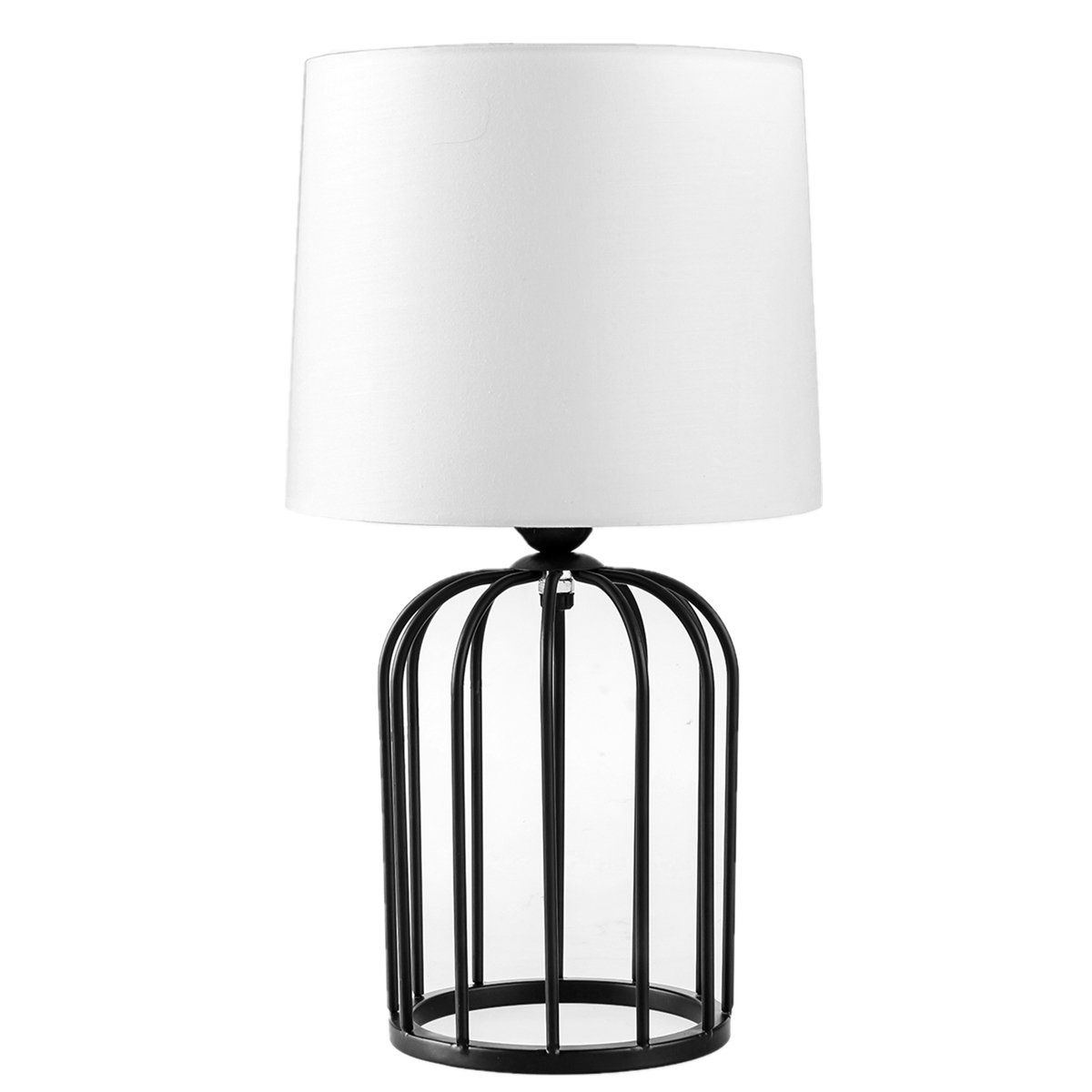 Bedside Lamp Morden Minimalist Black Metal Bird Cage With White Fabric Table Lamp Hollow Out Base With White Shade Read More R Lamp Metal Birds Bedside Lamp
