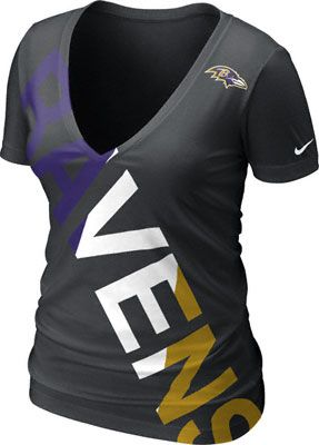 Baltimore Ravens Women s Black Nike Off-Kilter Tri-Blend Deep V-Neck T-Shirt cd220adee