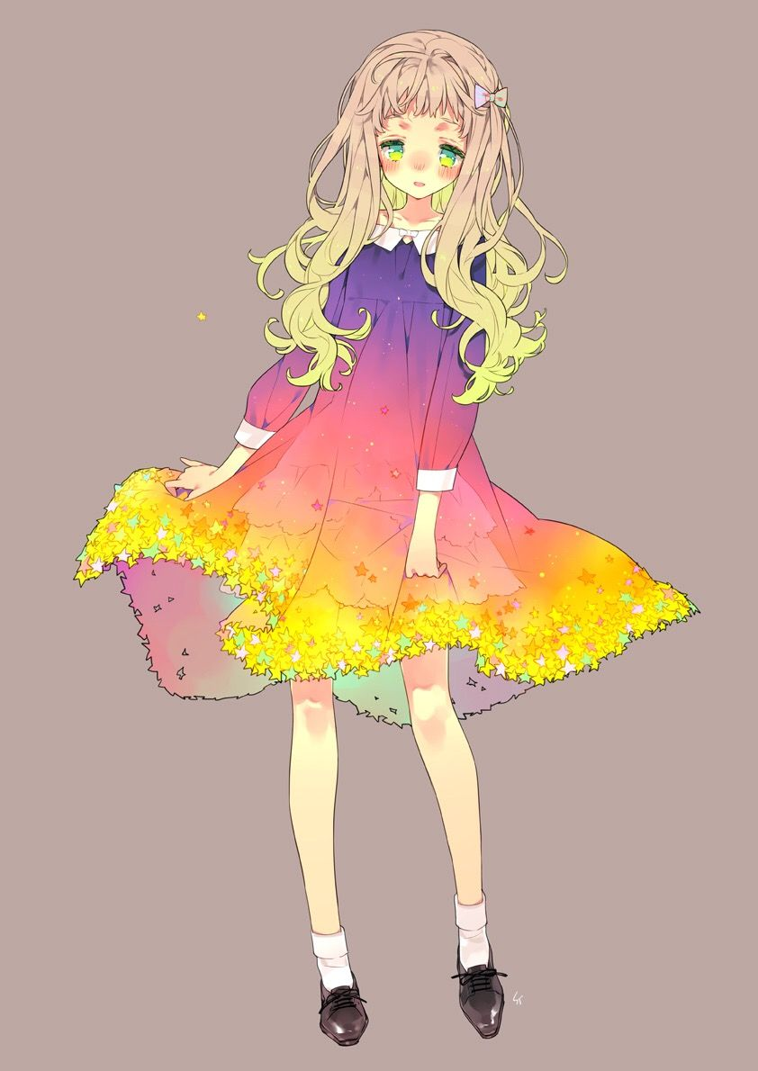 Anime manga colourful dress kawaii cute girl