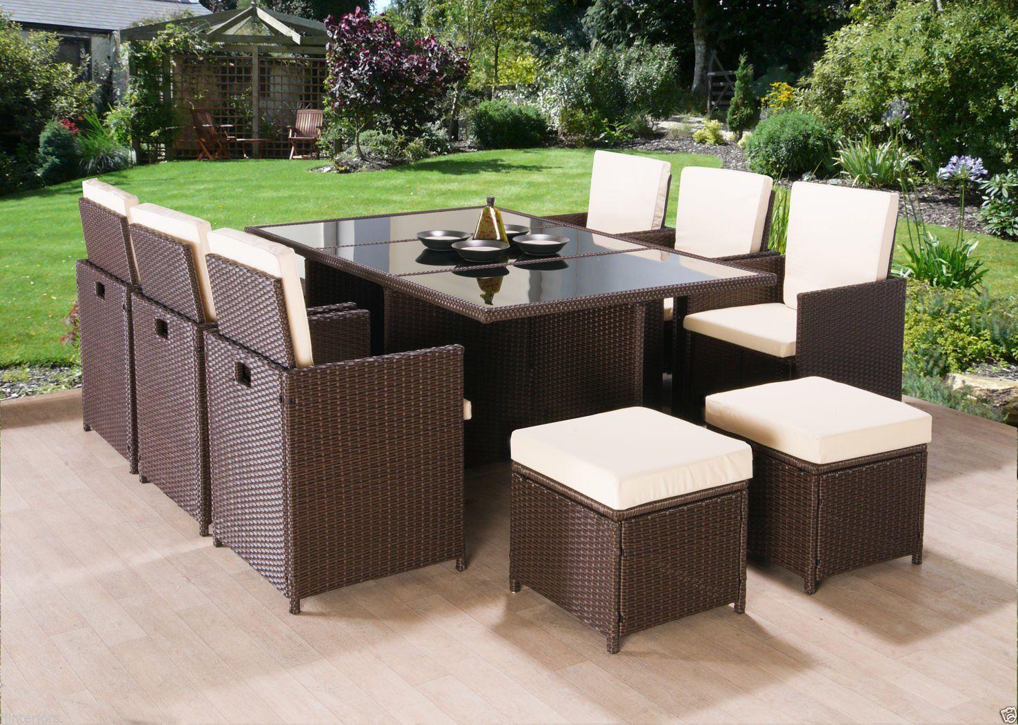 NEW Frankfurt Co Rattan Cube Garden Furniture Set 9 seater