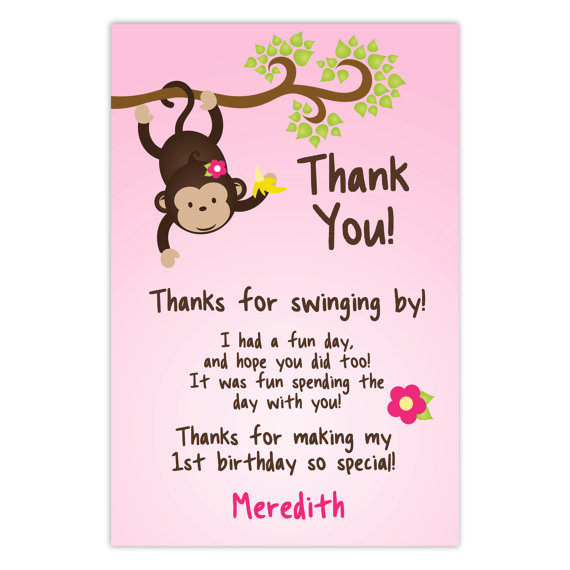 Pink Chalk Style Swinging Monkey Jungle Party Thank You Cards