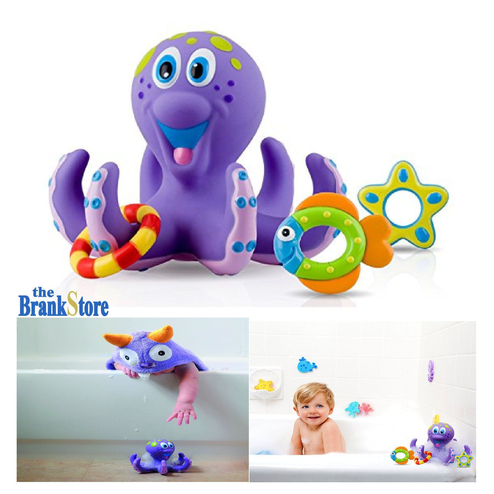 Baby Bath Toys Kids Bathtub Toy Octopus Hoopla Pool Water Floating