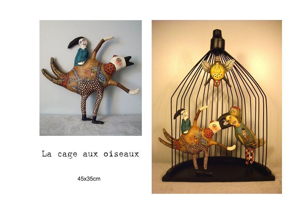 Gaëlle allart Portfolio : Sculpture textiles : La cage à oiseaux