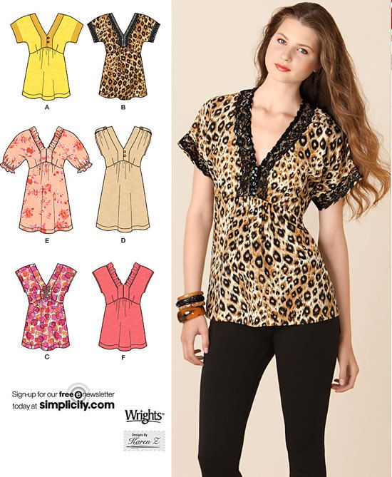 Misses TUNIC Top Sewing Pattern - Tunics Tops in 5 Sizes including ...