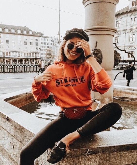 Strange Thoughts orange hoodie with black pants and loafers. Trendy fall  outfit ideas.   Outfit Ideas   Pinterest   Clothes, Fashion and Street  styles