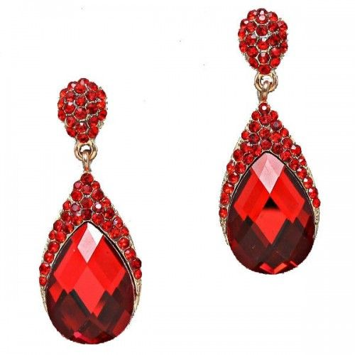 earrings heart stud com swarovski crystal red dp jewelry amazon