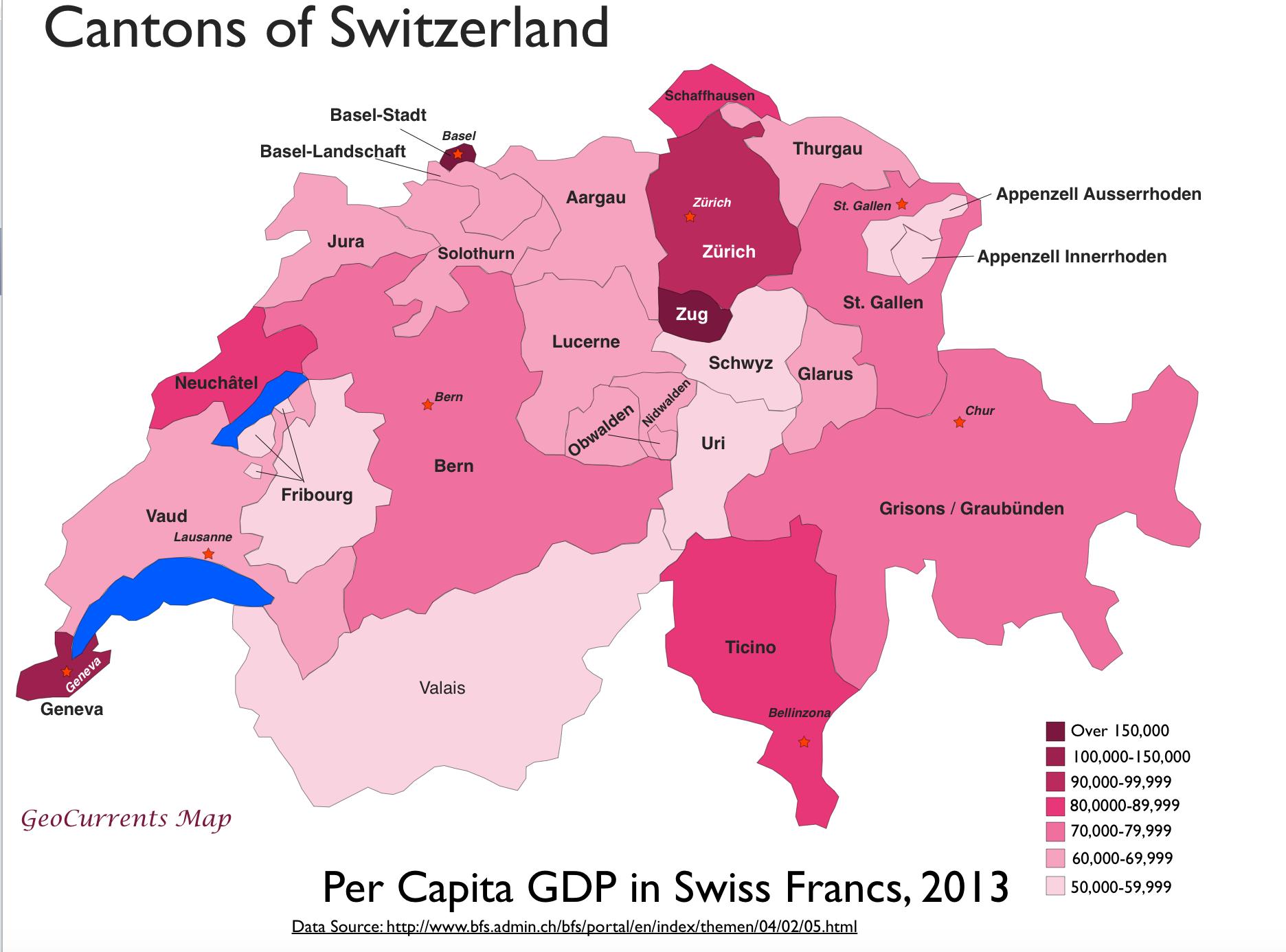 Swiss Per Capita GDP by Canton MAPS Pinterest