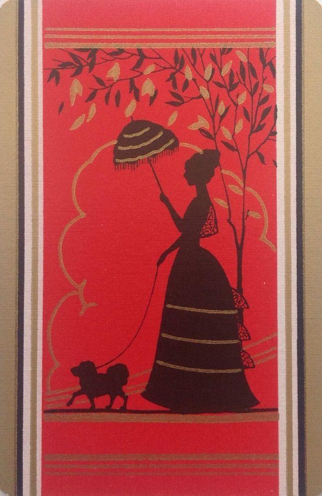 ART DECO Swap Playing Card Stunning Red Silhouette & Dog Crinoline GIRLS LADIES