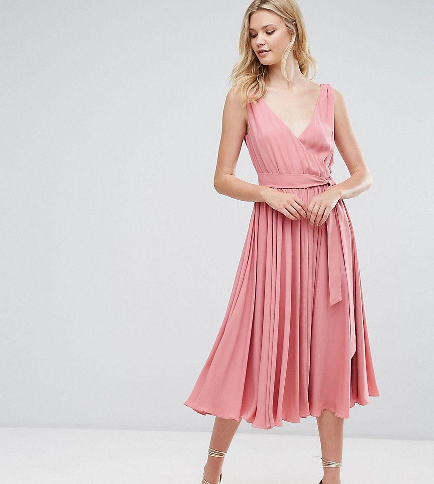asos tall - wedding - midikleid mit schleife vorne - rosa