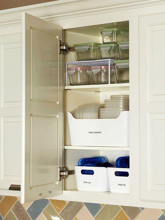 25 Ways To Declutter In Less Time Tupperware Organizing Cabinets Organization Kitchen Organization
