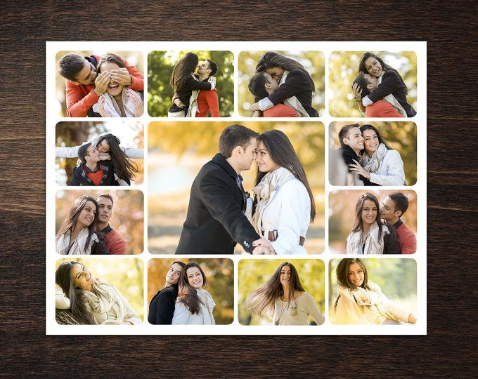 Photo Collage Template 8,5 x 11 #3, 13 photo, Storyboard Template - photography storyboard template