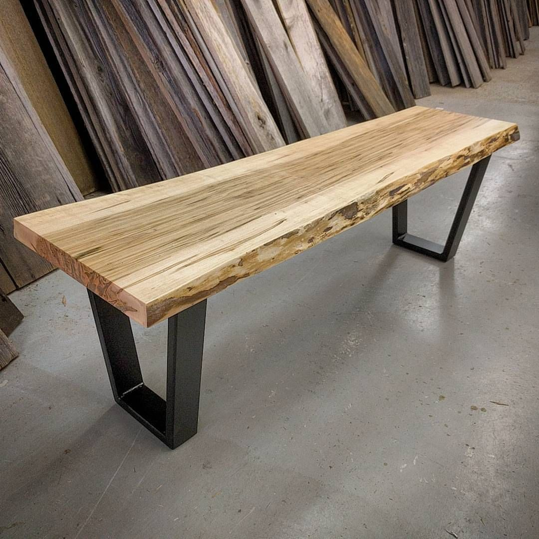 Live Edge Ambrosia Maple Table Mounted On Satin Black Steel