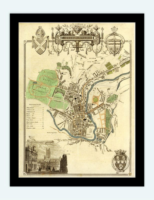 Old Map of Bath 1837 United Kingdom map Pinterest Bath
