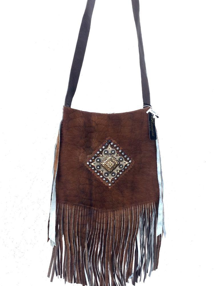 d859b1ebd081 Raviani Western Hair on Hide Leather Cross Body Handbag Purse Fringe ...