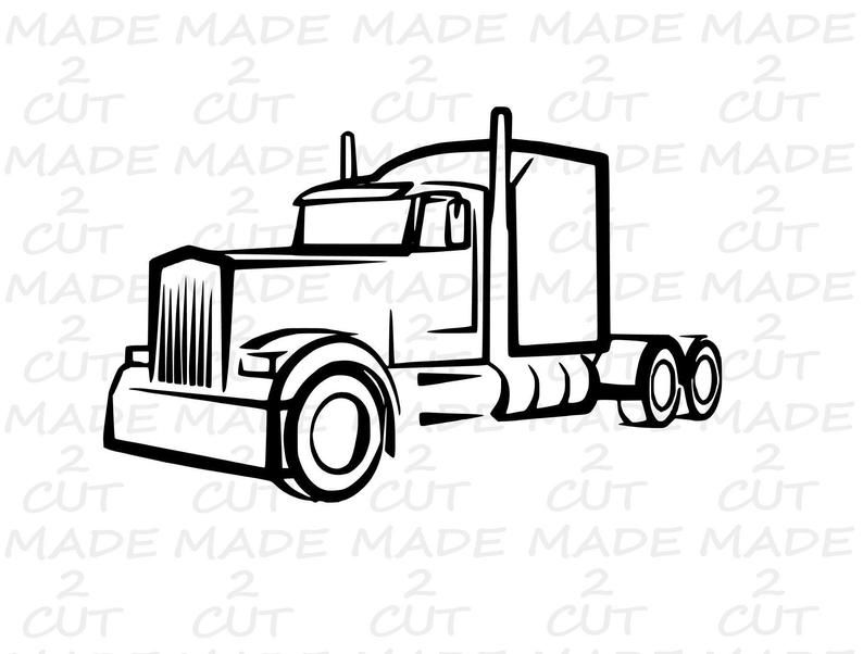 Semi Truck Svg 18 Wheeler Design Car Svg Airplane Svg Etsy Truck Tattoo Truck Coloring Pages Semi Trucks