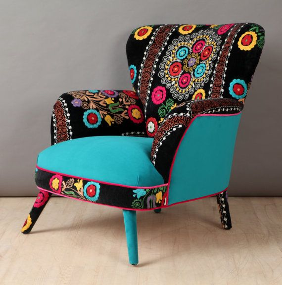 Retro Style Handmade Armchair Upholstered With Suzani And Velvet Fabrics Beautiful Combination Of Lovely Colors Seat And Outer Parts Are