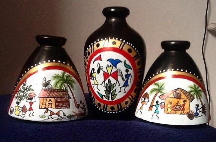 Maati Designs Blue Earthen Vase Set Of Two Fabfurnish Com Vase