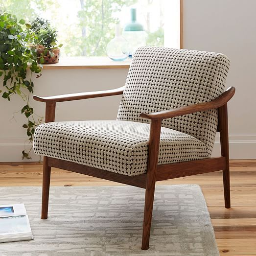 Mid century show wood chair modern cabin upholstered - Modern upholstered living room chairs ...
