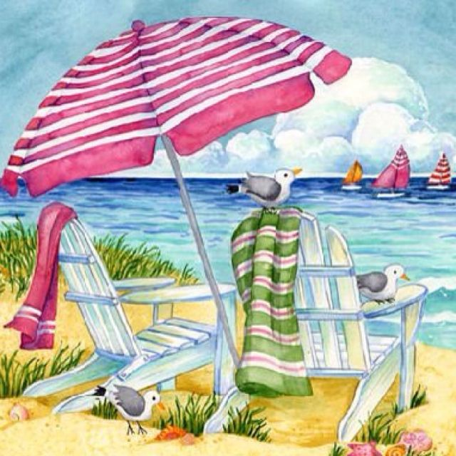 Image result for watercolor beachside clipart