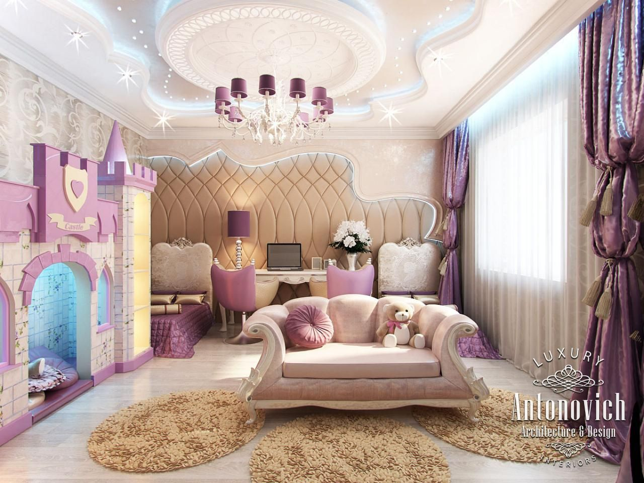 Girly home decor in projects of luxury antonovich design for Girly room decoration