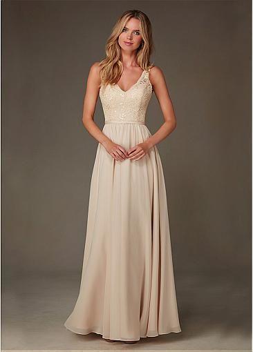 a94b3eca6ce Elegant Chiffon V-neck Natural Waistline Floor-length A-line Bridesmaid  Dresses