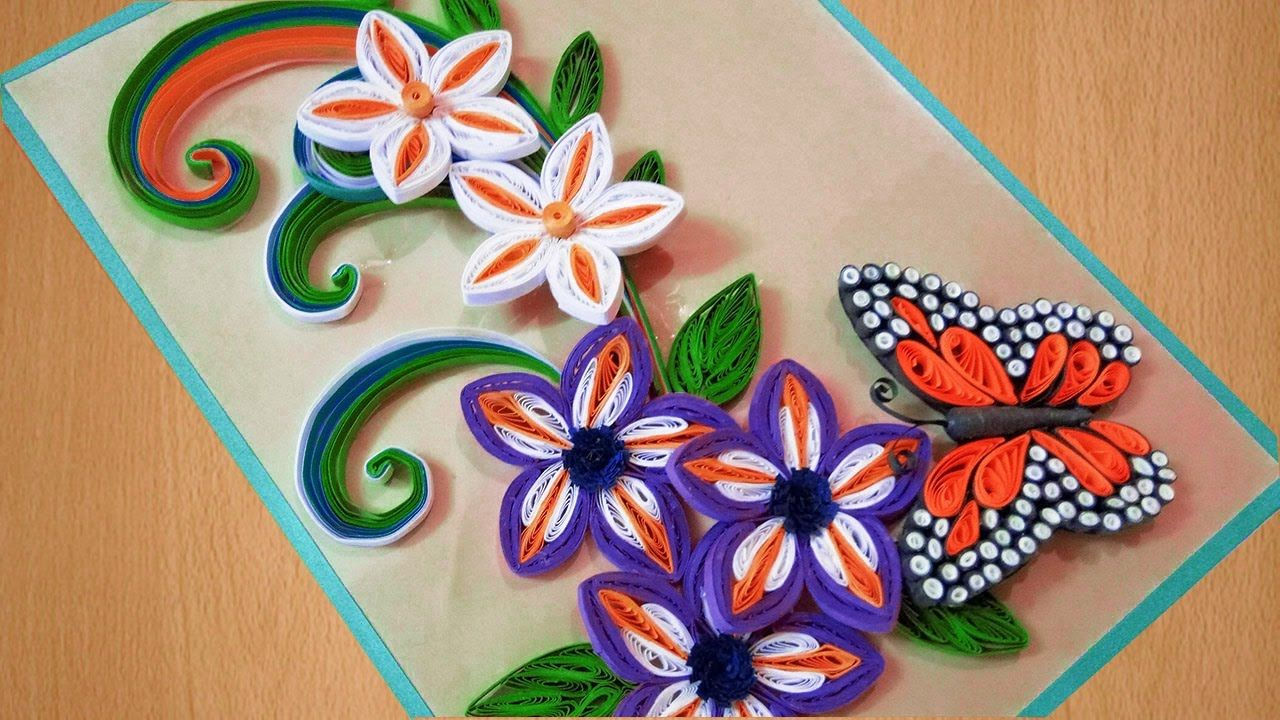 ✅Quilling card | how to make Beautiful flowers with Butterfly ... for Quilling Butterfly Tutorial  28cpg
