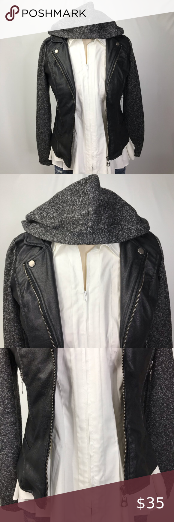 New Look Faux Leather Jacket In The Color Black Of A Faux Leather Biker Vest With The Attached Sleeves And Hood Being A Leather Jacket New Look Jackets Jackets [ 1740 x 580 Pixel ]