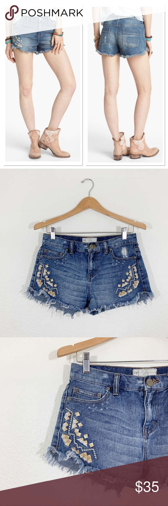 Free People Tulum Vintage Denim Cutoff Shorts Free People Tulum Vintage Denim Cutoff Shorts, Sz 26, in good used condition   Triangle embroidery  Five pocket style Minor distressing Free People Shorts Jean Shorts #denimcutoffshorts