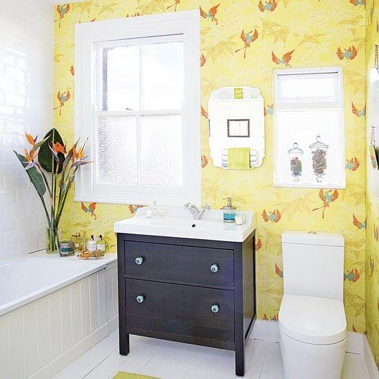 Black White Yellow Bathroom: Plain White Bathroom With Potted Plants