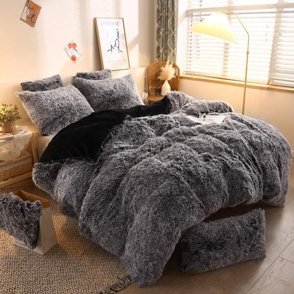 Ultra Soft Plush Shaggy Faux Fur Duvet Cover Mygoodyshop Com Mygoodyshop Velvet Bedding Sets Duvet Cover Sets Charcoal Sets