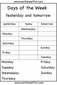photo regarding Free Printable Days of the Week Worksheets named Times of the 7 days Yesterday and Tomorrow 6 Worksheets