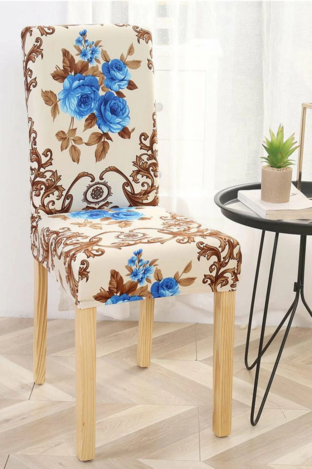 Flower Print Stretchy Chair Cover in 2020 Chair cover