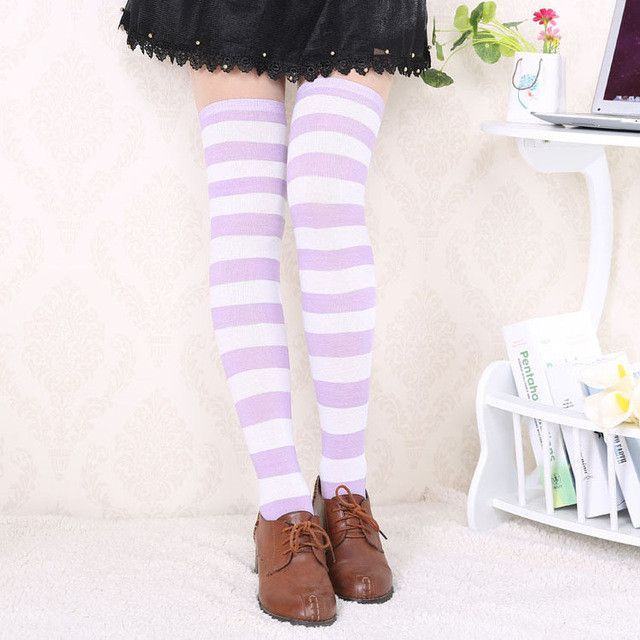 22095097056 Hot New Sexy Women Girl Striped Cotton Thigh High Stocking Over the Knee  Socks Fashion Stockings