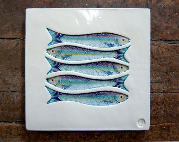 Five Sardines Fish Art Tile Handmade Ceramic By