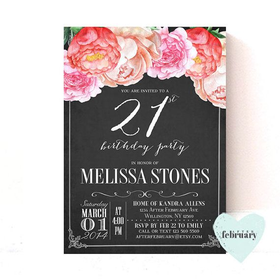 21st Birthday Invitation Women Any Ages By AfterFebruary
