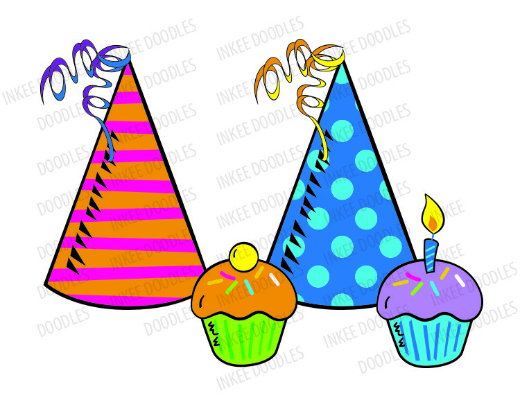 Birthday Clip Art Candles Balloon Party Hat Happy Birthday Cake