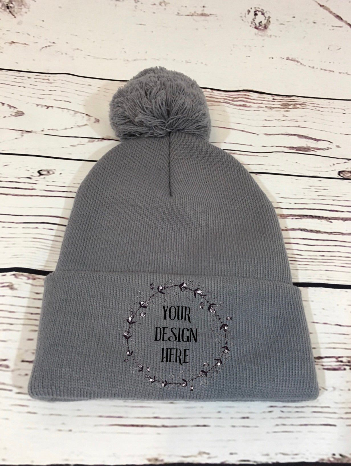 Grey Pom Pom Hat Mockup   Grey Knit Hat Mockup   Grey Hat