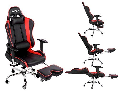 Merax Ergonomic Series Pu Leather Office Chair Racing Chair with Footrest  Computer Gaming Chair, Recliner - Merax Ergonomic Series Pu Leather Office Chair Racing Chair With
