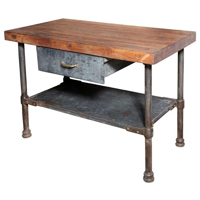 Tables · I Can Replicate This   IKEA Butcher Block   ?Seating   Vintage  Industrial Kitchen Work