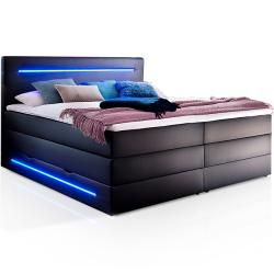 Photo of Lonni Ii box spring bed with bed box and integrated LED lighting, material synthetic leather – 160 x