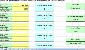 debt snowball consolidation calculator excel spreadsheet | debt ...