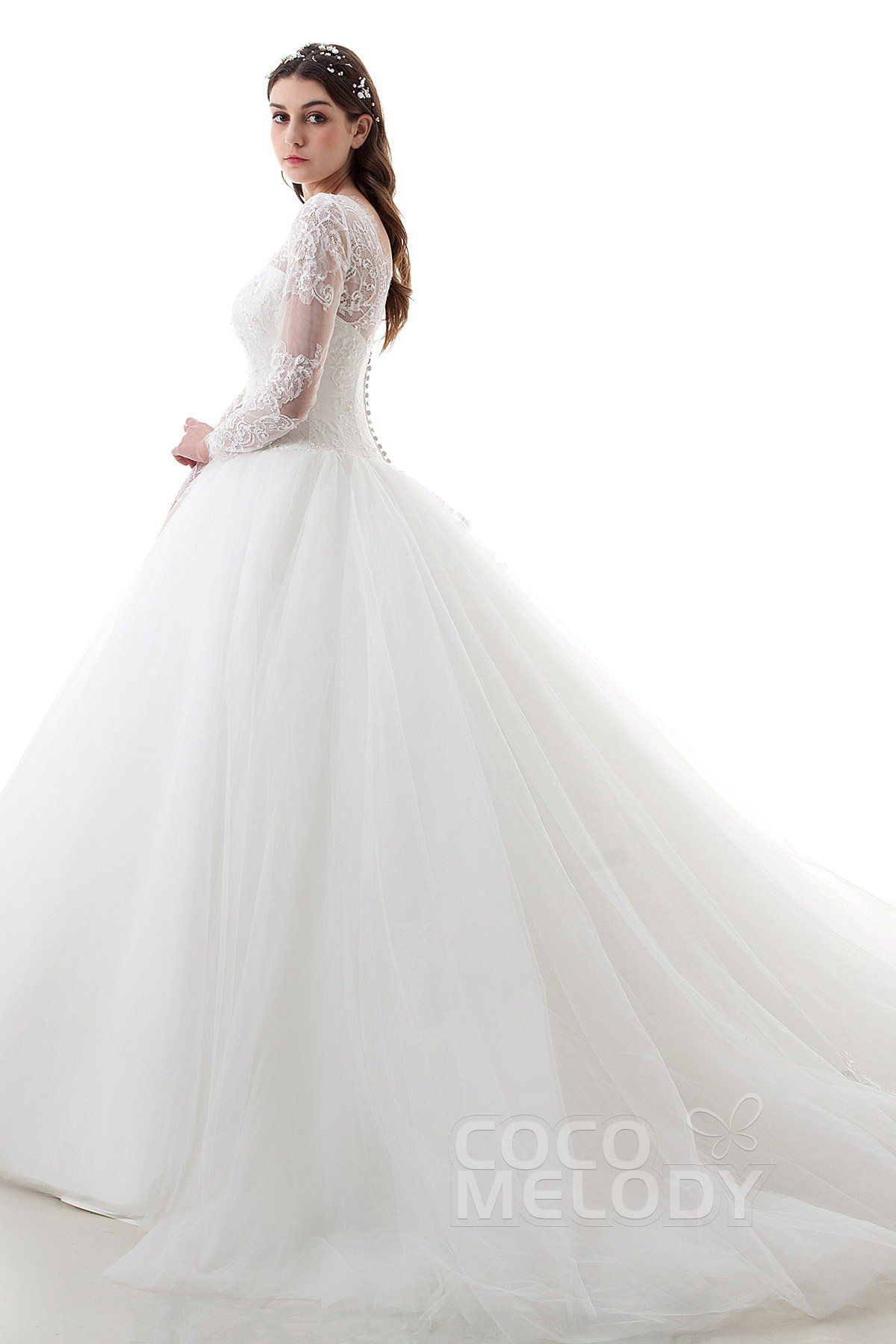 2c8146679270e3 Latest Ball Gown Illusion Lace and Tulle Ivory Long Sleeve Open Back  Wedding Dress with Appliques and Beading LD4457  cocomelody  weddingdress  ...
