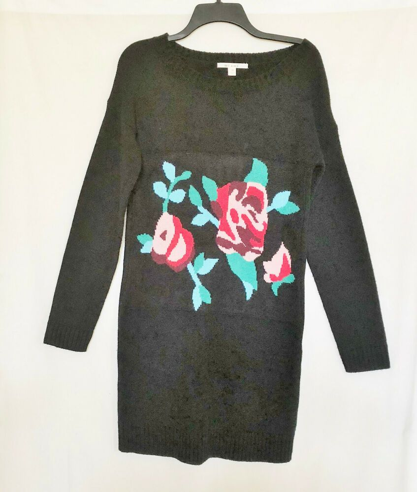 a76cea4b841 Womens Sweater Dress Black Long Sleeves Floral Embroidered Sz M  Miami   SheathDress  AnyOccasion