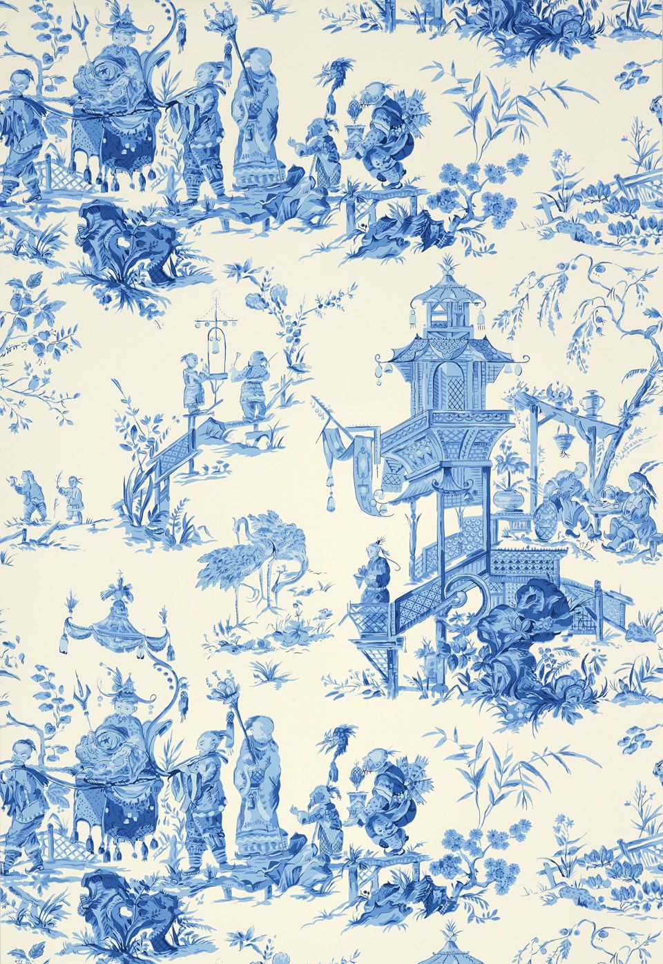 Schumacher Chinois Wallcovering in China Blue 5007002
